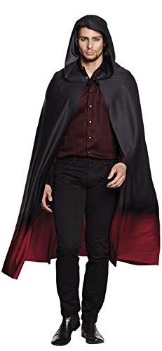 Mantello domino con cappuccio Fade (170 cm), rosso/nero