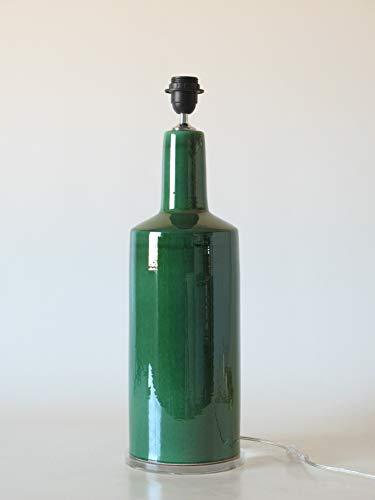 POLONIO Lampara de Ceramica Grande de Salon de 48 cm Verde, E27, 60 W - Pie de Lámpara de Cerámica Sobremesa - Jarron de Ceramica Verde Imperial.