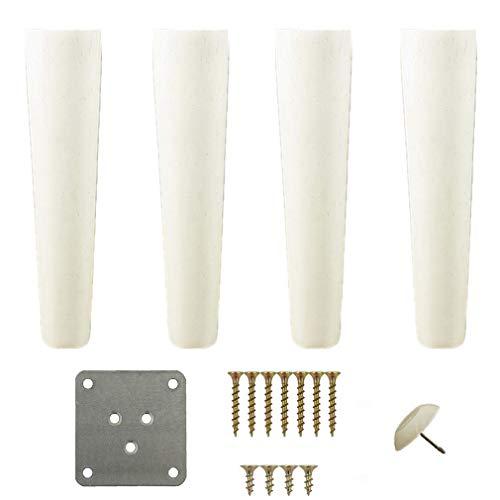 DX 4 STK. Tischbeine, Holzmöbelbeine, konisch, Sofahocker Tischschrank Schrank Fuß Ersatz Höhenverstellung (6cm)