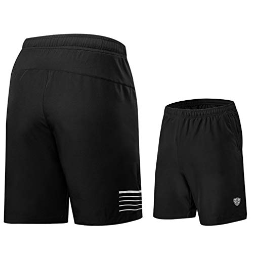 emansmoer Homme Loose Fit Drawstring Quick Dry Sports Running Basketball Shorts Cycling Training Fitness Short Pants(L, Black)