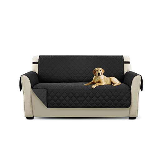 PETCUTE Cubre para Silla Fundas de Sofa Protector de sofá o sillón, Dos o Tres plazas Negro 2 plazas