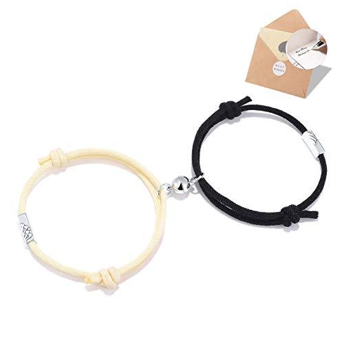 BOCHOI 2PCS Mountain and Ocean Couple Magnetic Bracelets Set for Women Men Girlfriend Boyfriend Eternal of Love Jewellery Birthday Gifts