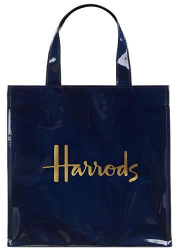 Harrods Knightsbridge London Kleine Signature Einkaufstasche, Blau, USA-Sträge