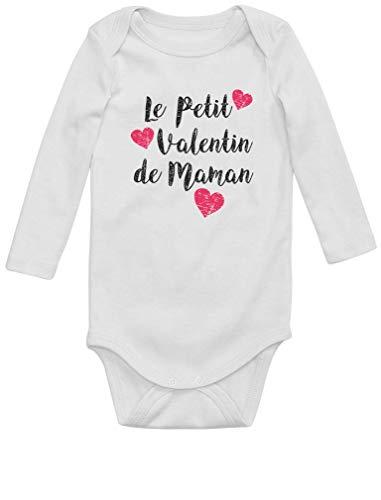 Green Turtle T-Shirts Petit Valentin de Maman Fête des Mères Body Bébé Manche Longue Newborn Blanc