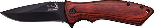 ELK RIDGE Couteau d'extérieur Hunter Marron foncé Manche en Bois Pakka, Longueur de la Lame cm : 8,26, elkr de 1252