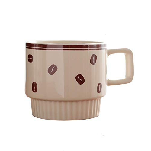Easy to Carry Ceramic Mug Porcelain Stackable Ceramic Mug Retro Coffee Cup Office Mug Can Be Used for All Kinds of Coffee, Tea and Beverages (10.8 Oz) Porcelain Cup (Color : D) (Color : D)