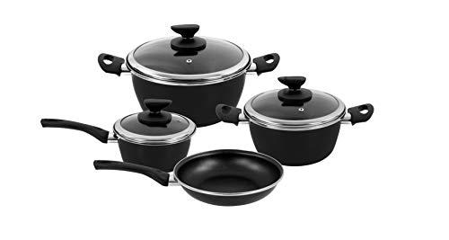 Magefesa - Batería de cocina FIT, acero esmaltado, color negro, con antiadherente...