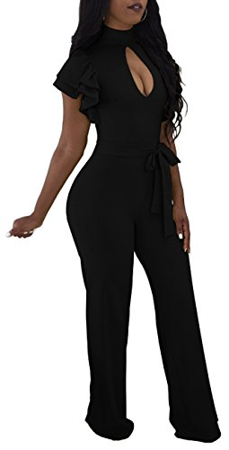 Women Sexy Solid Jumpsuits Wide Leg Pants Hollow Out Short Ruffles Sleeve for Party Club Black