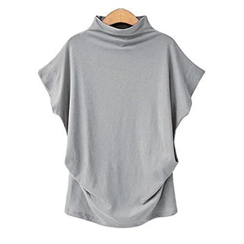 Camiseta de Manga Corta con Cuello Medio Alto para Mujer de Talla Grande, Camiseta Holgada de Manga Corta de Color Liso para Mujer