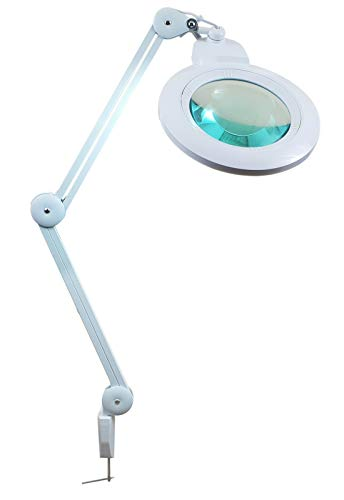 Komerci KML-9006LED-178 Kaltlicht Lupenleuchte, Lupenlampe mit extra großer 178mm 5D Wechsellinse, 84 LEDs, 14W, weiss