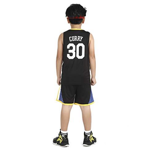 Für # 30 Stephen Curry Golden State Warriors Fans Basketball Jersey Kinder Jugend Sportswear Shirt Weste + Top Sommer Shorts Männlich Weiblich T-Shirt-black-2XL