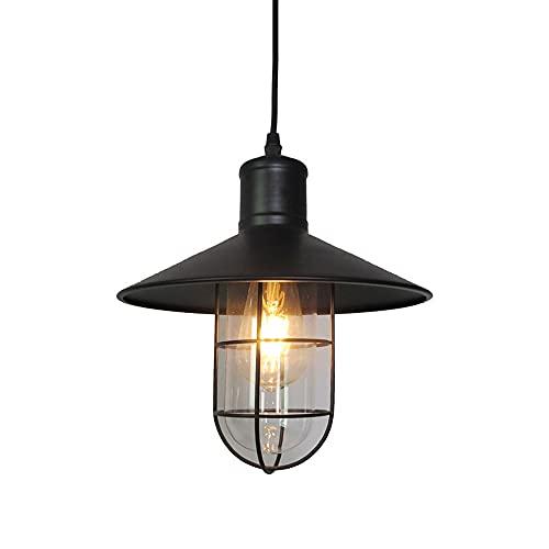 NAMFHZW Industria antigua Lámpara colgante de techo Metal negro Acabado en vidrio Sombra Lámpara colgante E27 1 luz Lámpara colgante semi empotrada Luminaria ajustable en altura Mesa de comedor Cocina