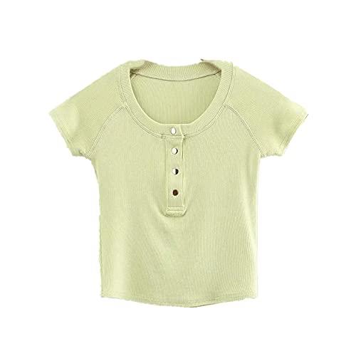 N\P Primavera y Verano Slim Short Metal Breasted Raglan Color T-Shirt Simple Mujer Manga Corta