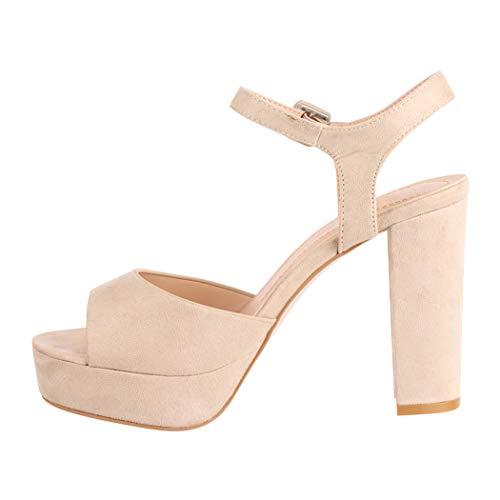 Elara Damen Pumps Peep Toe Sandalette Chunkyrayan AT0983 Beige-40