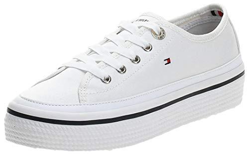 Tommy Hilfiger Damen Corporate Flatform Sneaker, Weiß (White 100), 38 EU