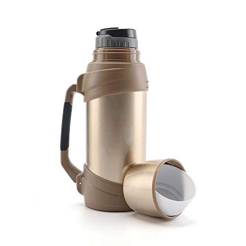 Olerd Botella de agua aislada de 2 litros – Botella de agua de acero inoxidable con taza, termo grande para gimnasio, viajes, camping, senderismo, color dorado