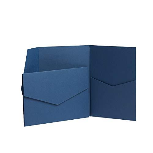 Einladungskarten mit Einsteckfach, Klappgrußkarten, 130x185mm, mattes Marineblau blau