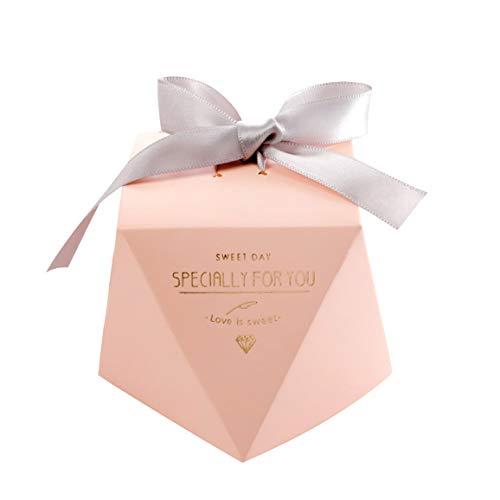 Gwolf Cajas de regalo de boda, 50 cajas de regalo pequeñas para regalos Cajas de golosinas decorativas Caja de regalo de galletas para tartas, Cajas de regalos con cintas para regalos de bodas