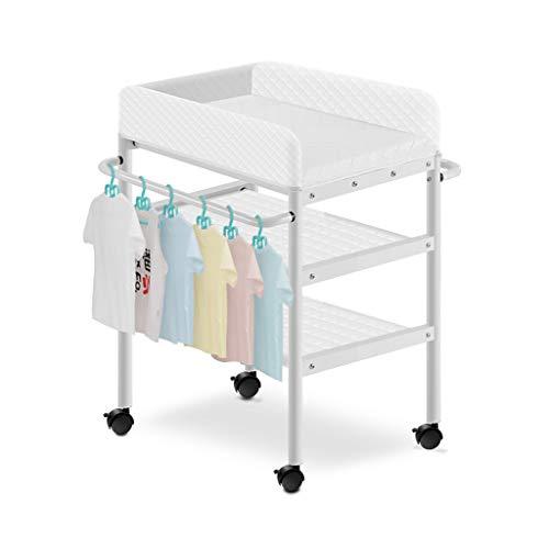 Asilo Organizzatore Fasciatoio con rotelle per Baby Room Boy Girl / Vassoio cambio per cassettone / Cambio della stazione del pannolino / Fasciatoio e cinturino di sicurezza / Fasciatoio con cuscino