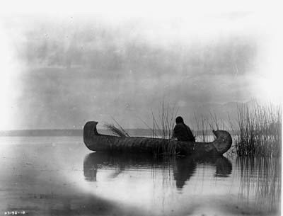 Photo of Native American Indians in Canoe c1886