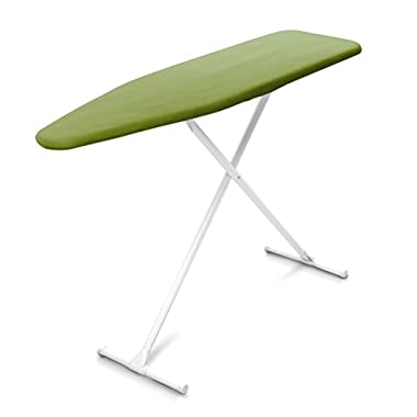 Homz T-Leg Steel Top Ironing Board with Foam Pad, Fresh Green Cover