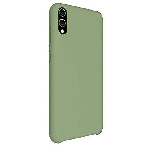 Oihxse Silicone Liquide Coque - Compatible pour Samsung Galaxy A20/A30 Ultra Mince Doux Protection Housse avec Intérieur Tissu Microfibre Cover Antichoc Anti-Rayures Etui Bumper(Vert)