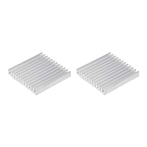 sourcing map 5x35x35mm Silver Tone Aluminum Heatsink Thermal Adhesive Pad Cooler for Cooling 3D Printers 2Pcs