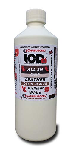 Leather dye Bright White for Sofas, Chairs, Shoes, Handbags, Car, Jackets, Leather dye colourant kit, Hard Wearing Scuff & Scratch Resistant. for Leather Vinyl Built in Sealer Restores Faded Leather