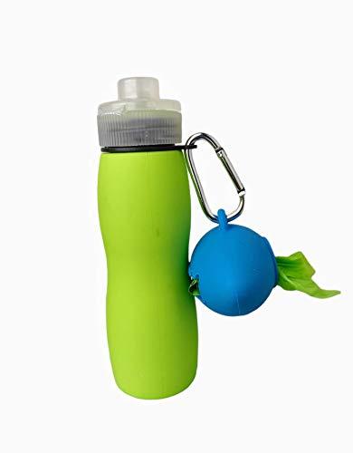 Botella de Agua Pequeña + Dispensador de Bolsas | Silicona 400 ml Perros Pequeños…