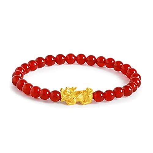 Joyas Pulsera de Oro Amarillo de 24k Mujer 3D Suerte Bendice Encanto con Perlas de ágata roja Pulsera Ajustable 17cm Pulsera de Moda AMINÍ (Color : 20cm)