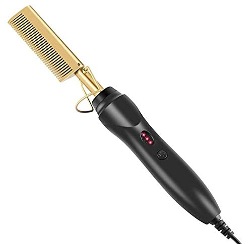 Hot Comb,Electric Heating Comb,Ceramic Comb Security Portable Curling Iron Heated Brush,Multifunctional Copper Hair Straightener Brush Straightening Comb