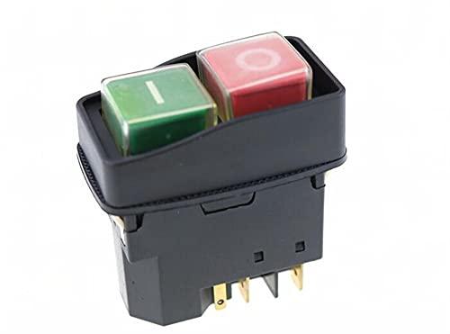 KADIWOAD Elektromagnetischer Schalter 5-Pin aus rot/grüner Druckknopf NOT-Stop Zündschalter 12A 230V
