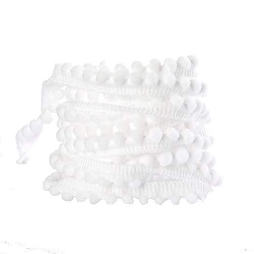 Mini Pom Pom Fringe Trim - DIY Home Curtain Clothes Pillow Decoration Craft Ribbon Sewing Fringe Trim(Mini-White, 10 Yards)