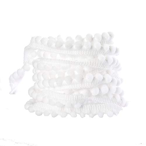 1/5' Wide Pom Poms Sewing Fringe Trim for Home Curtain Clothes Pillow DIY Decoration (Mini-White, 20 Yards)