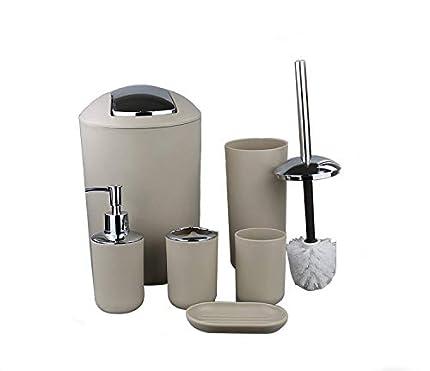 GMMH - Juego de Accesorios para baño (6 Piezas, Incluye dispensador de jabón, escobillero, baño), Color Beige