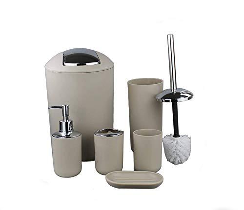 GMMH - Set di 6 Accessori da Bagno, Dispenser per Sapone e scopino per WC, Colore Beige