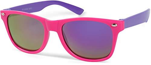 styleBREAKER Gafas de sol Kids Nerd con montura de plástico y lentes de policarbonato, diseño clásico retro 09020056, color:Montura rosa-púrpura/vidrio púrpura reflejado