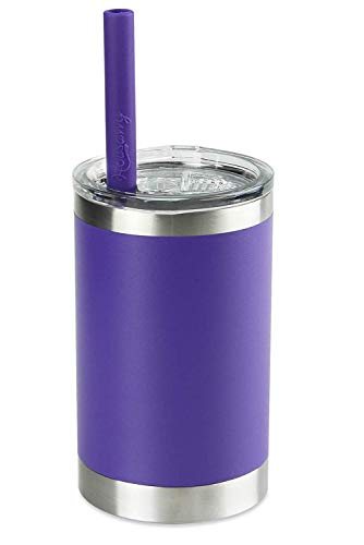 Toddler Cups, Housavvy Smoothie Cups Vacuum Insulated Stainless Steel Cup with BPA Free Easy Cleaning Lid and Soft Smoothie Silicone Straw for Kids, Dishwasher Safe, 11 Oz, Purple