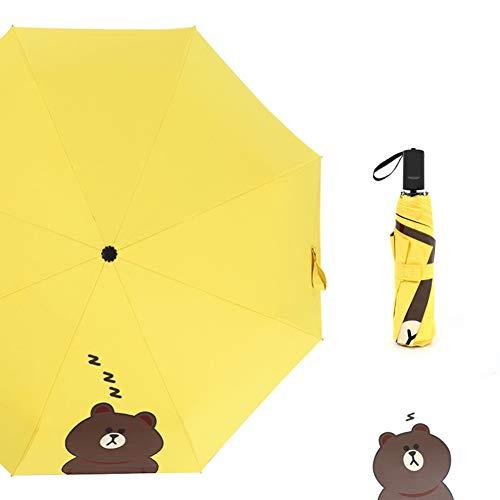 Paraguas Manual Paraguas Paraguas de Oso Pardo Paraguas de Dibujos Animados Paraguas de Sol Paraguas Mini Paraguas Plegable Paraguas Negro pequeño Paraguas publicitario (Color : Yellow)