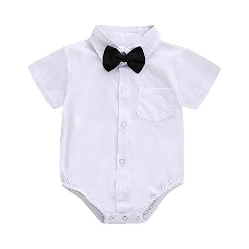 Baby Jungen Kleid Hemd Button Down T-Shirt mit Fliege Gentleman Bodysuit Strampler für Kleinkinder Geburtstag Party Kuchen Smash Foto Shoot Hochzeit Taufe Gr. 68, Weißer Kurzarm