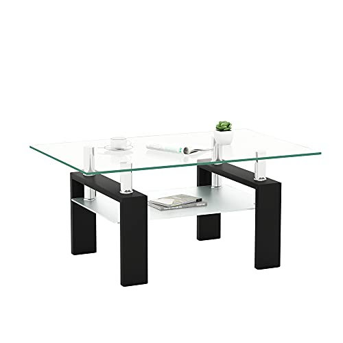 Rectangle Glass Coffee Table Metal Tube Legs End Table for Livingroom IANIYA