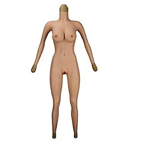 QHYAH Crossdressing Bodysuit, Realistic Silicone E Cup Breast Forms Fake Vagina Bodysuit, High-end Version Full Body Suit for Transgender Crossdresser with Sleeve