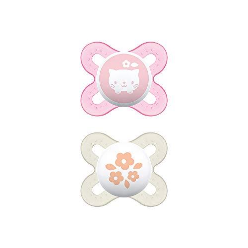 MAM Start S152 Schnuller für Neugeborene, extra klein, aus SkinSoftTM Silikon, für Babys von 0 bis 2 Monaten, Rosa (2 Stück) mit selbststerilisierender Box, spanische Version