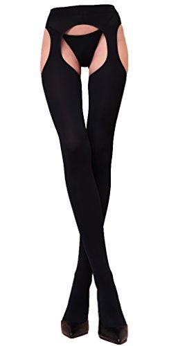 WOOTI Panty de Microfibra de 100 den MESSICANA con Liguero incorporado, color Negro, talla S/M, Atractivo, Elegante, Cómodo, Caliente, Suave, Sexy, Resistente, Opaco