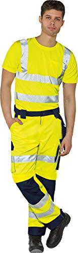 Vizwell Warnschutzhose Warnschutz-Bundhose Signal + Gratis-Werkzeugtasche Gelb-Marine Gr.42-68/24-30/90-110 (27)