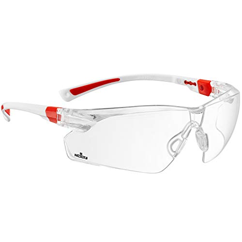 NoCry Safety Glasses with Clear Anti Fog Scratch Resistant Wrap-Around Lenses and Non-Slip Grips, UV Protection. Adjustable, White & Red Frames