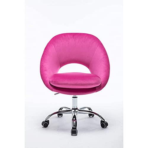showyow Silla giratoria Ajustable de Oficina única Innovador Terciopelo para el Ocio Sala de Estar/Dormitorio Silla giratoria de Oficina Sillón reclinable Suave y Relajante (Color: Rosa)