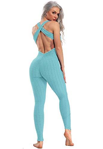 FITTOO Mallas Pantalones Deportivos Leggings Mujer Yoga de Alta Cintura Elásticos y Transpirables para Yoga Running Fitness con Gran Elásticos1370 Azul M
