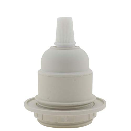Art deco Emporium lhe27-rp0-wht Edison Screw (E27) portalampada in bianco per lampada o ciondolo uso fornito con paralume anello e Flex grip