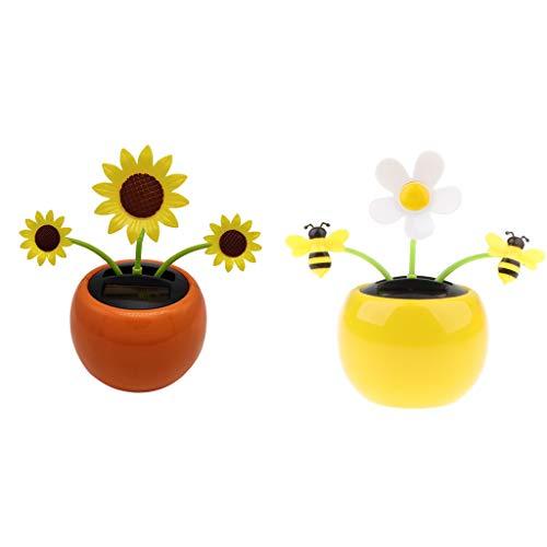 F Fityle 2 Stück Solar Wackelfigur Tanzende Blume Solarblume Wackelblume Spielzeug Auto Ornamente